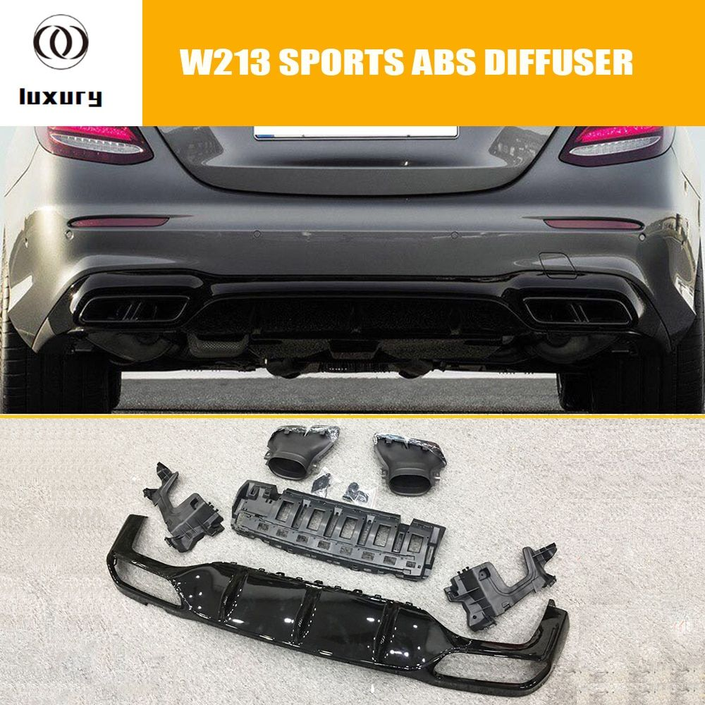 E63 Style Glossy ABS Rear Bumper Diffuser with Stainless Exhaust Tips for Benz W213 E200 E260 E300 E43 With AMG Package (NO E63)