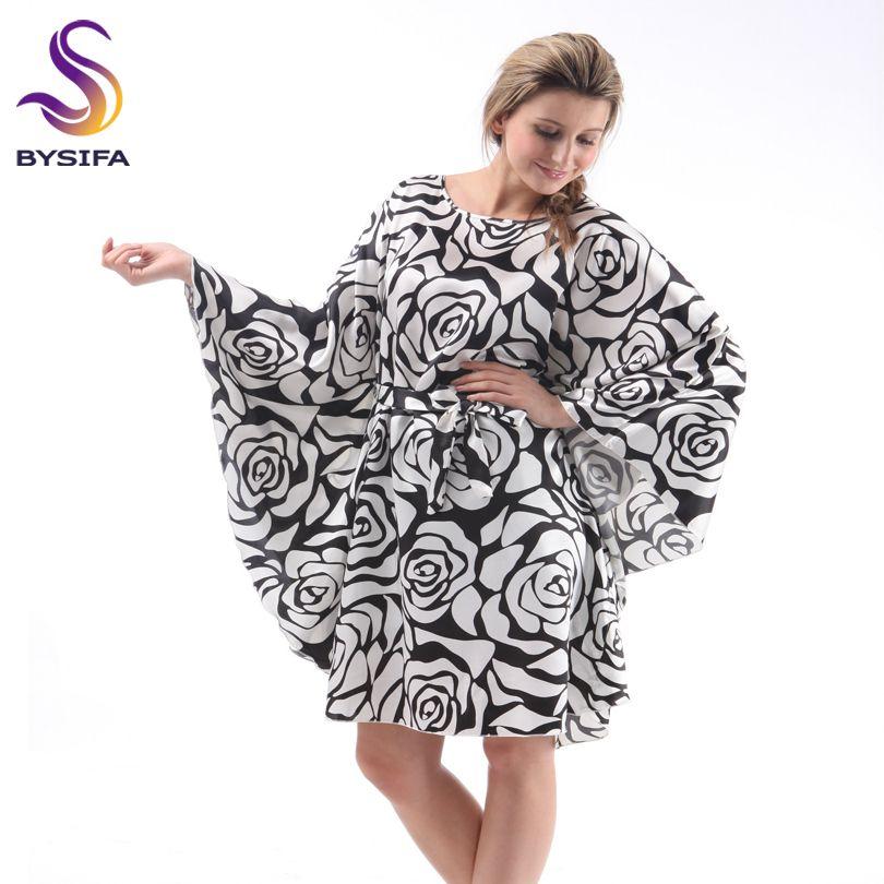 Dames d'été Lâche Satin chemise de Nuit Accueil Vêtements Sommeil Salon Élégant Papillon Manches Noir Blanc Rose Sleepshirts Nuit