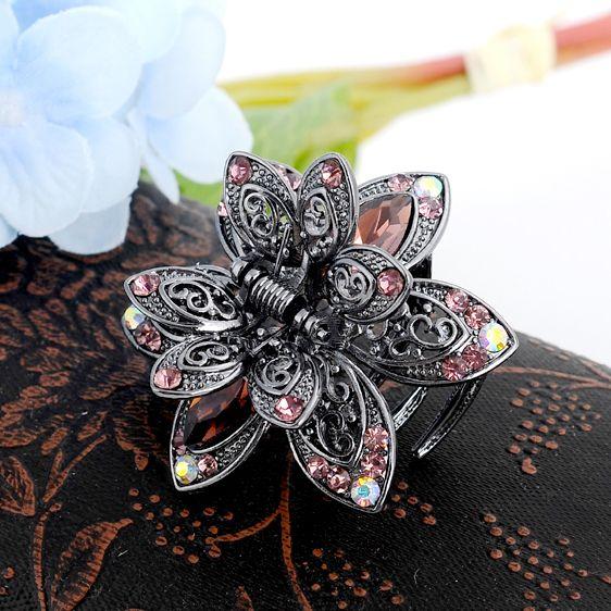 Vintage Fleur Cristal Cheveux Griffes Clip Strass Épingle À Cheveux Cheveux Bijoux Charme Cheveux Accessoires Pour Femmes