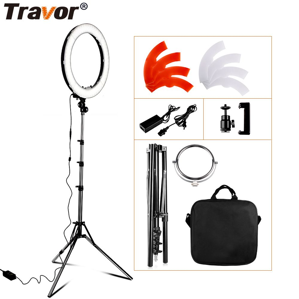 Travor RL-18 Dimmable photography ring <font><b>light</b></font> with carry bag 240pcs led beads inside 55w ringlight lamp for makeup & <font><b>light</b></font> tripod