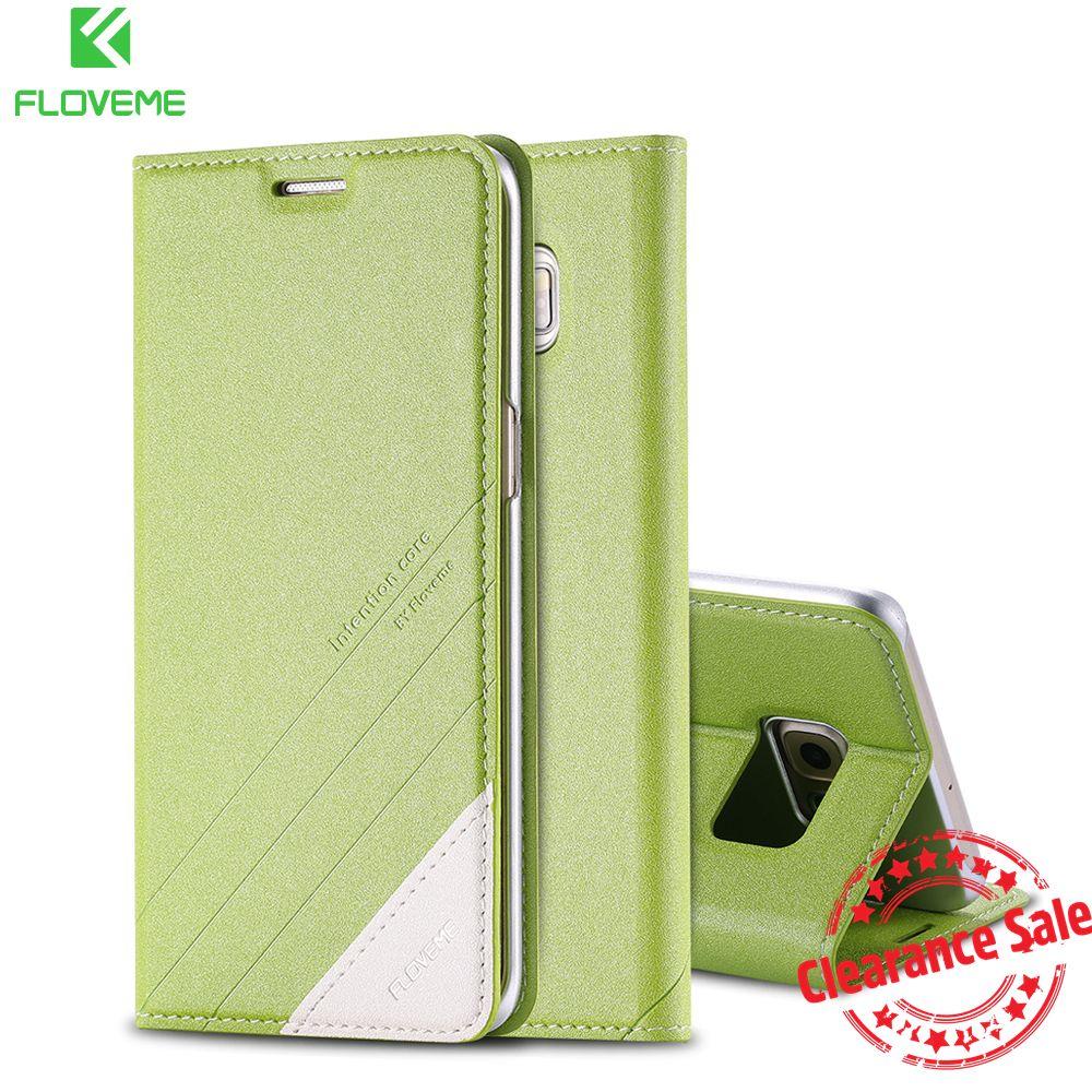 FLOVEME S6 S7 Bord Note 4 5 Cas En Cuir Royal Locus Ligne Motif Stand Téléphone Cas Pour Samsung Galaxy S5 S6 S7 Bord Plus Note 5