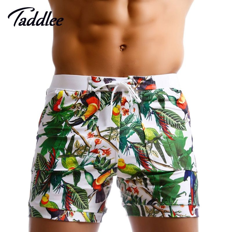 Taddlee Brand Men Swim Boxer Shorts Board Surfing Trunks Designed Low Waist Swimwear Swimsuits Brazilian Traditional Cut Gay