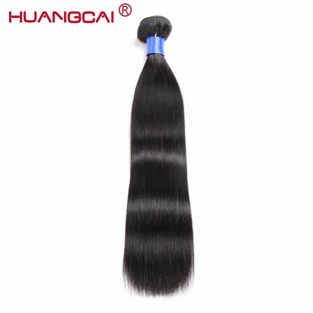 Huangcai Cheveux Brésiliens Cheveux Raides Armure 100% Faisceaux 8-28 Pouce Cheveux Extensions de Cheveux Humains Naturel Noir Non Remy