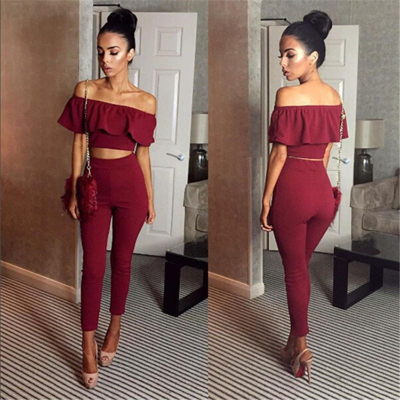 Sexy Womens Two Piece Sets 2018 Summer Ladies <font><b>Black</b></font> Sleeveless Ruffles Backless Tops And High Waist Flexible Pencil Pants Set
