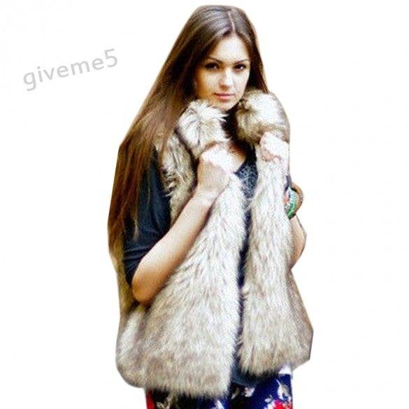 2017 New Hot Selling Medium Long Design Female Faux Fur Vest Outerwear Plus Size Faux Fur Coat Waistcoat Women Coat 10