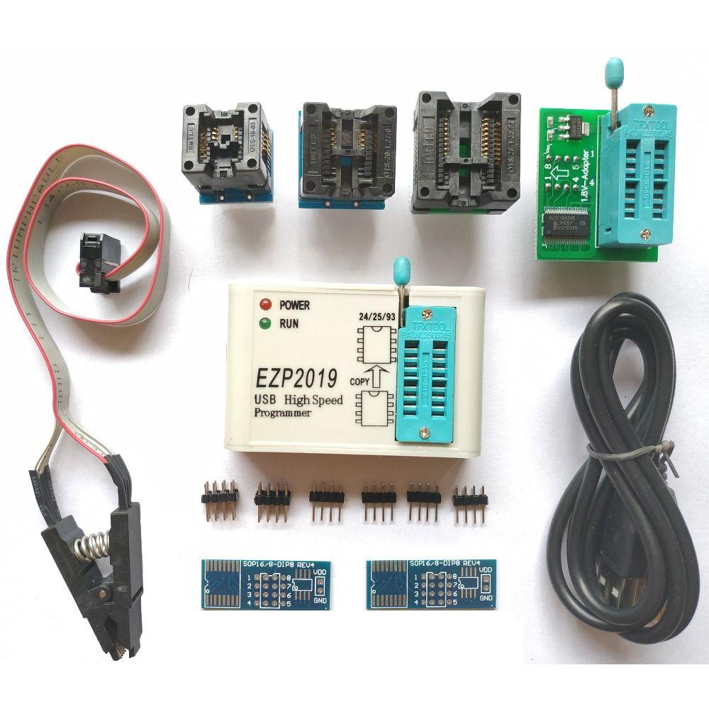 EZP2019 + prise en charge du programmeur USB SPI haute vitesse 24 25 93 puces Bios Flash EEPROM peuvent être ajoutées par vous-même (24 séries eeprom, 25 séries SPI FLASH, 93 séries eeprom, 25 séries eeprom)
