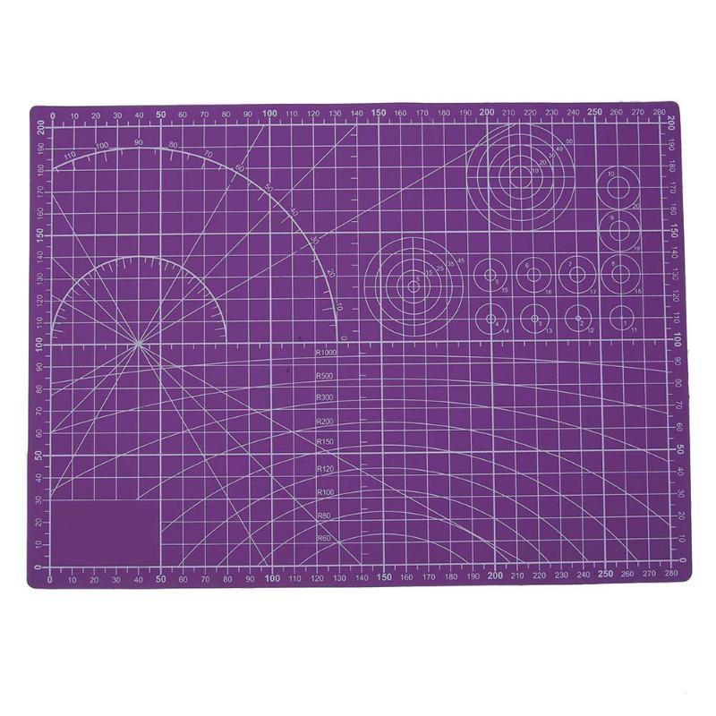 Púrpura tabla de Cortar de Plástico Cojín de la Estera DEL PVC Auto-sanación A4 Papel de Oficina En Casa Herramienta de BRICOLAJE Artesanía Escolar Escala De Doble Cara Tabla de cortar