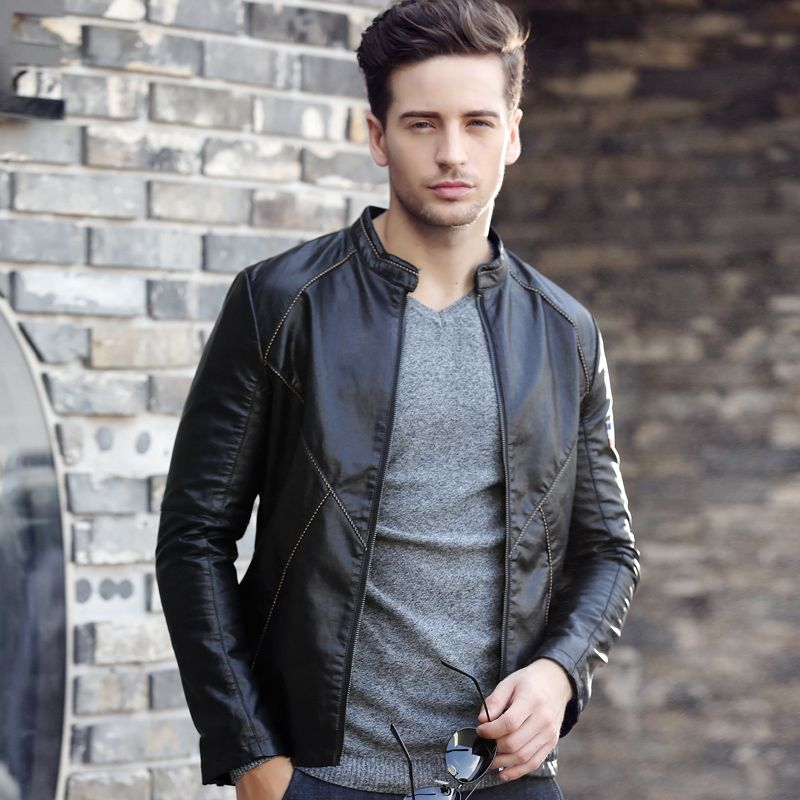 Men's Leather PU Slim Korean zipper 2017 autumn new casual youth handsome fashion new jacket