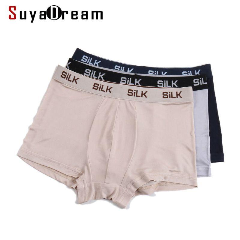 Hommes BOXER shorts 100% soie naturelle hommes culottes saines solides culottes lingerie calcinha shorts sous-vêtements calzoncillos