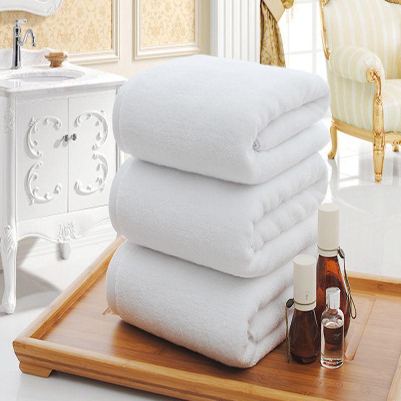 Solide Blanc Grande Serviette De Bain Haute Qualité Épaississement 100% Coton Hôtel Adulte Serviettes Doux Confortable D'absorption D'eau Serviette de Visage