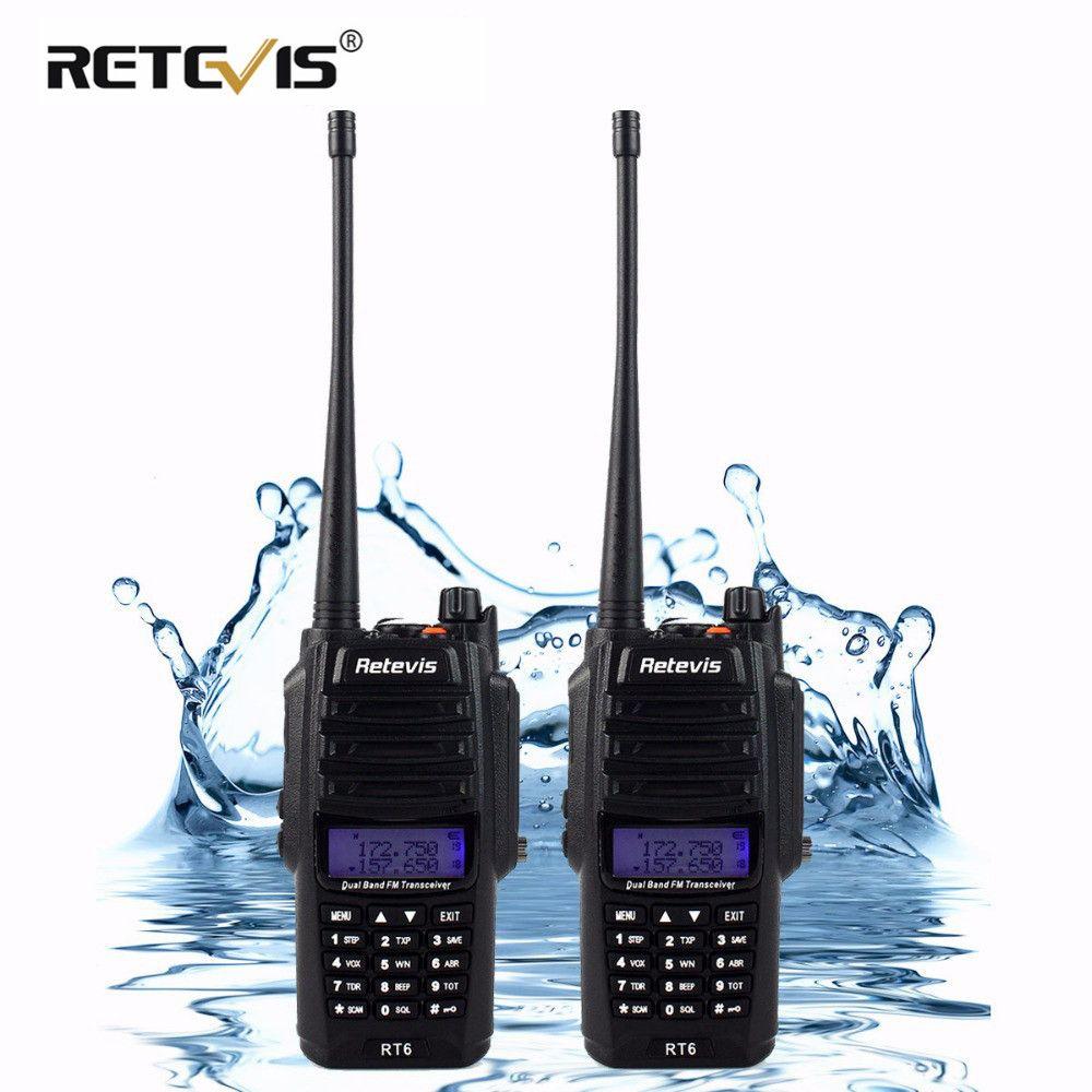 <font><b>2pcs</b></font> IP67 Waterproof Walkie Talkie Pair Retevis RT6 5W 128CH VHF UHF FM Radio VOX SOS Alarm Professional Two Way Radio Station