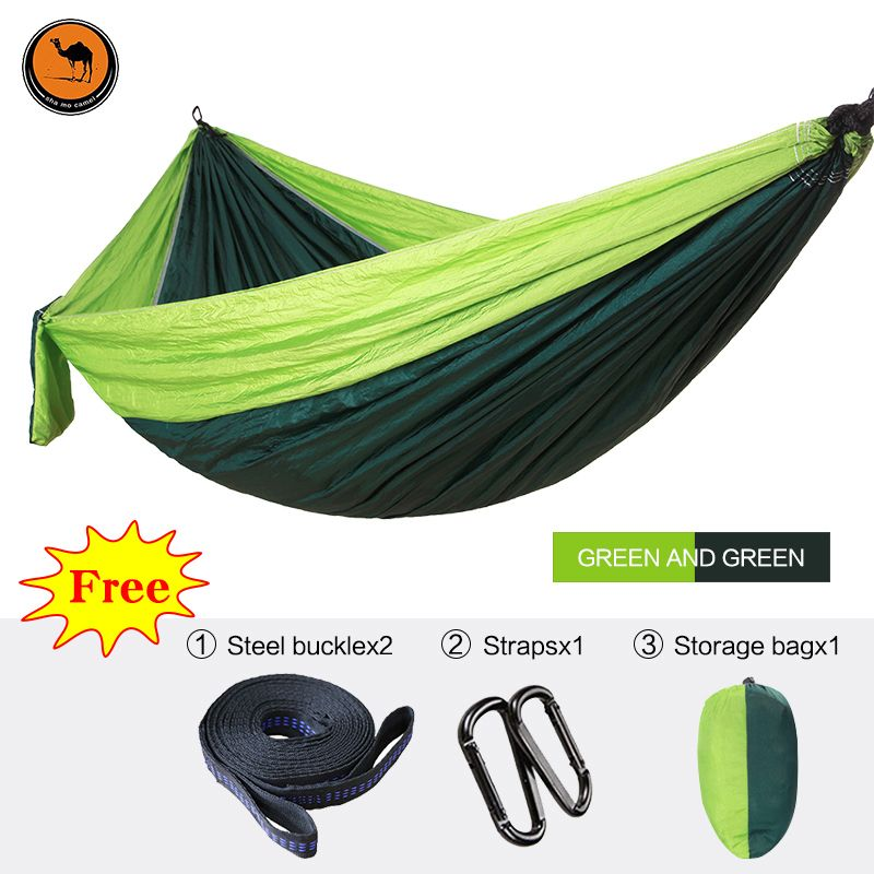 High Strength Outdoor Hammock Tree Portable Parachute Sleeping Swings Backpacking Hiking Woven Camping Furniture