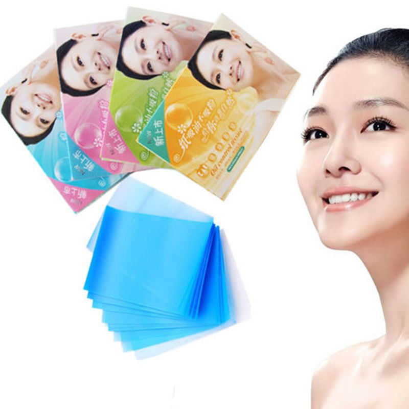 100x Facial Oil Control Sheets Nose Cosmetic Grease Blotter Oily Skin Chin Pores Dry Tissue Makeup Absorbant Pores