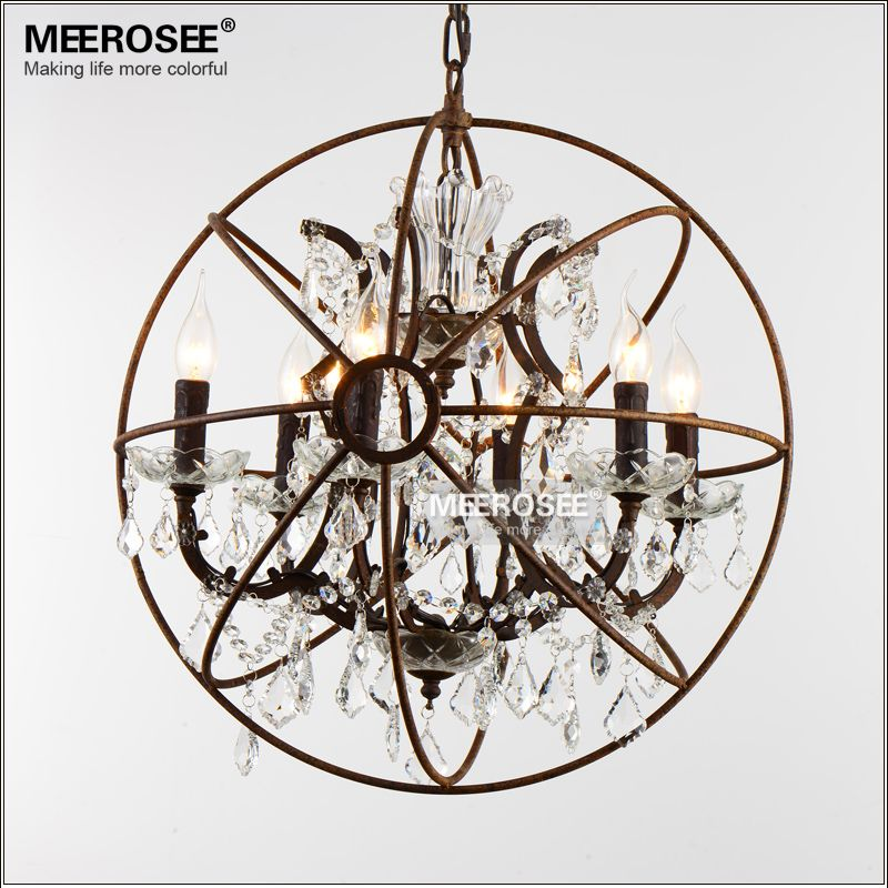 American Style Crystal Pendant Light Staircase Retro Rust Color Suspension Lamp 6 Lights Crystal Drop Lustre for Cafe Hotel deco
