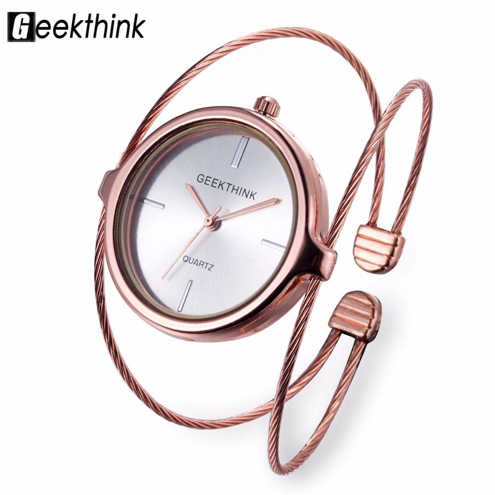 Geekthink única moda marca reloj de cuarzo mujeres pulsera señoras reloj de oro rosa mujer de lujo doble anillo de acero banda casual