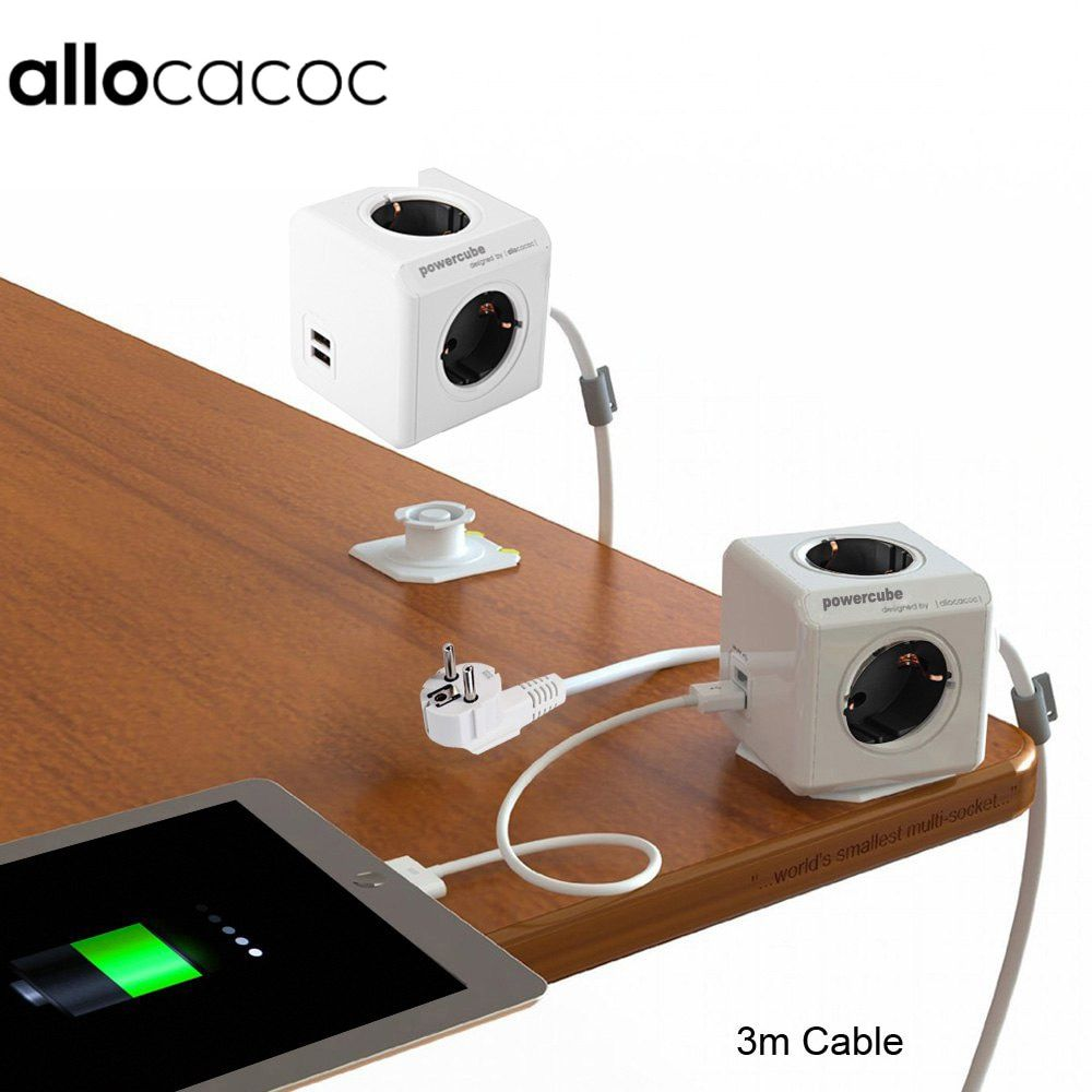 Allocacoc PowerCube <font><b>Extended</b></font> Power Socket DE Plug 4 Outlets 2 USB Ports Adapter with 300cm Cable & 150cm cable