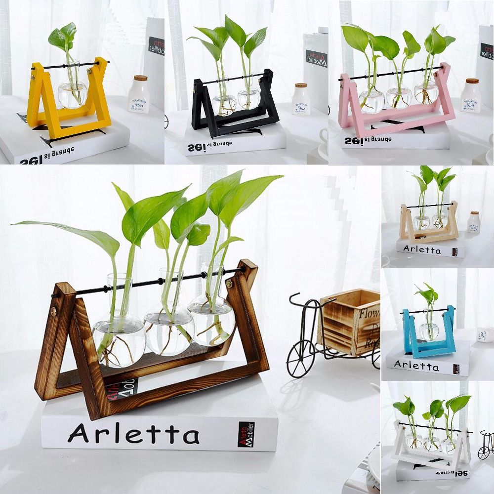 Pine Wood Modern Style Glass Tabletop Plant Bonsai Flower <font><b>Wedding</b></font> Decorative Vase With Wooden Tray Home Decoration Accessories