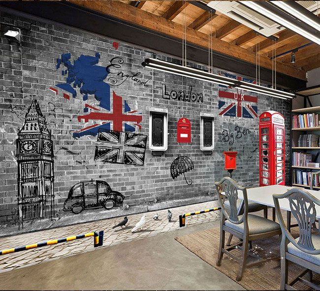 European and American retro nostalgia London phone booth cafe restaurant large mural 3D wallpaper bedroom living room TV stereo