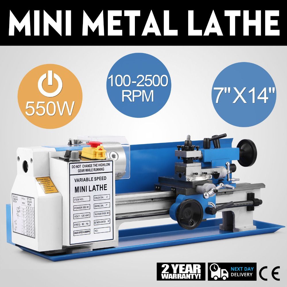 7x14 inch Precision Mini Metal Lathe Metalworking DIY Processing Spindle Tooling
