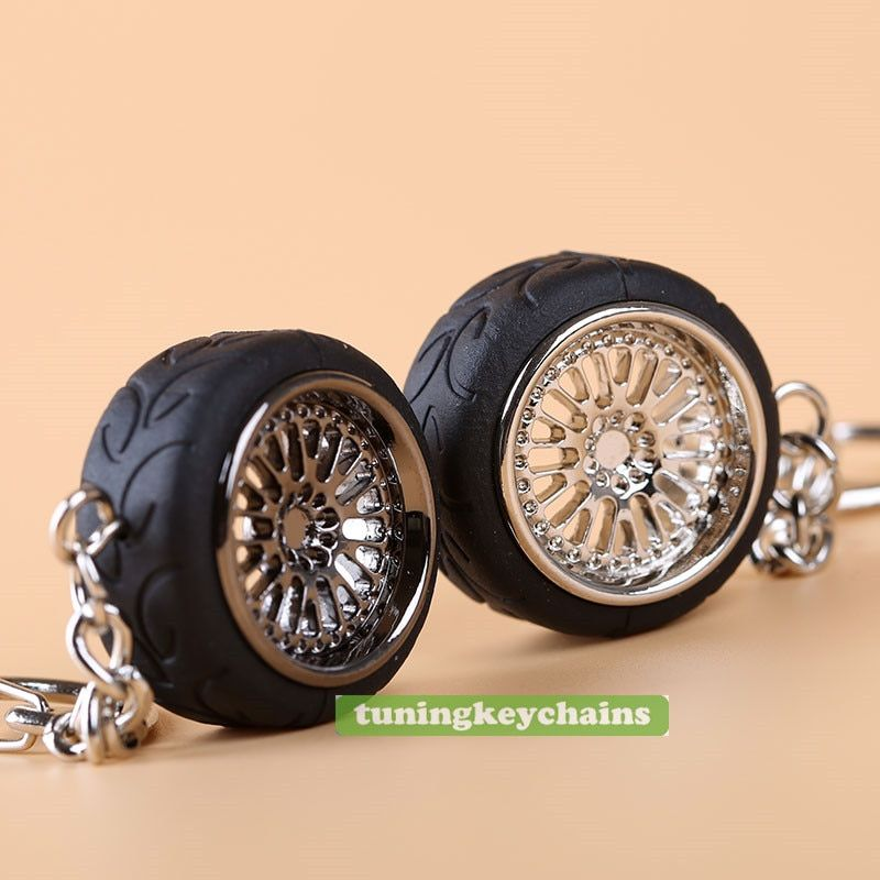 CCW Style Metal Wheel Rim keychain Key Chain Keyring Silver and Black A050 Racing Tire Tyre