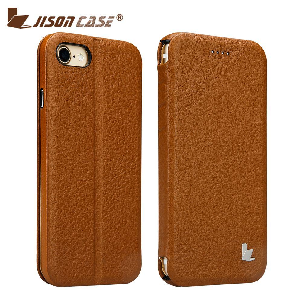Jisoncase Flip Smart Fall für iPhone 7 Folio Ständer Abdeckung Aus Echtem Leder Luxus Magnet Abdeckungen für iPhone 7 4,7 Funda