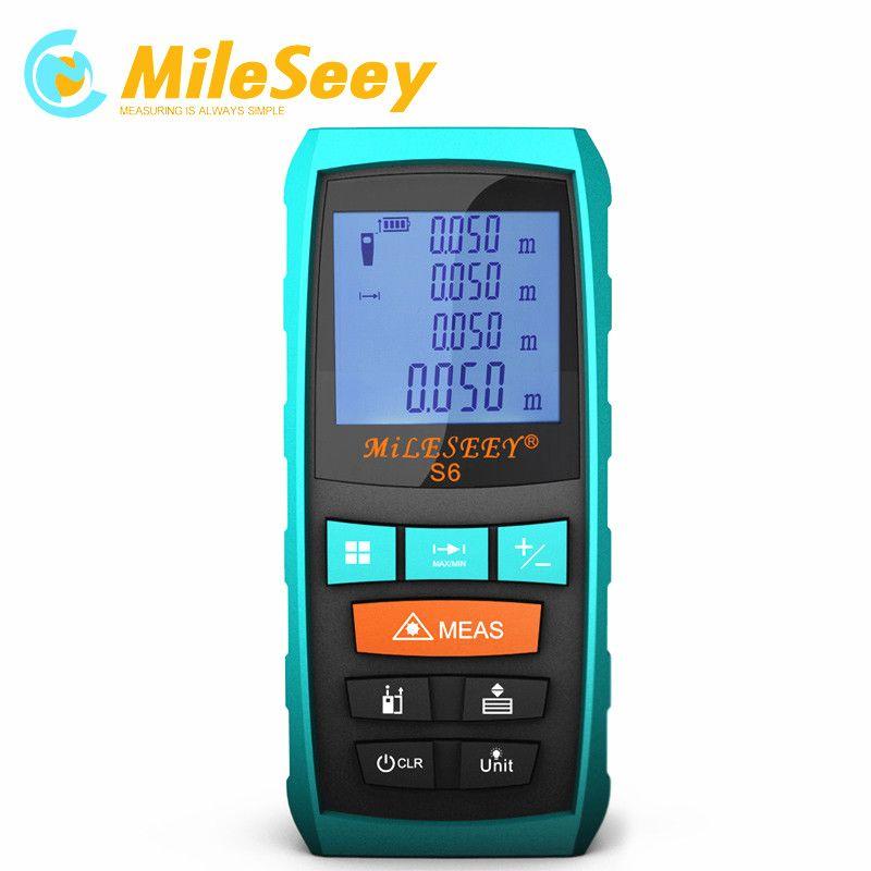 Laser <font><b>Distance</b></font> Meter Laser Metre End-piece Mileseey S6 60M laser rangefinder hand strap Blue