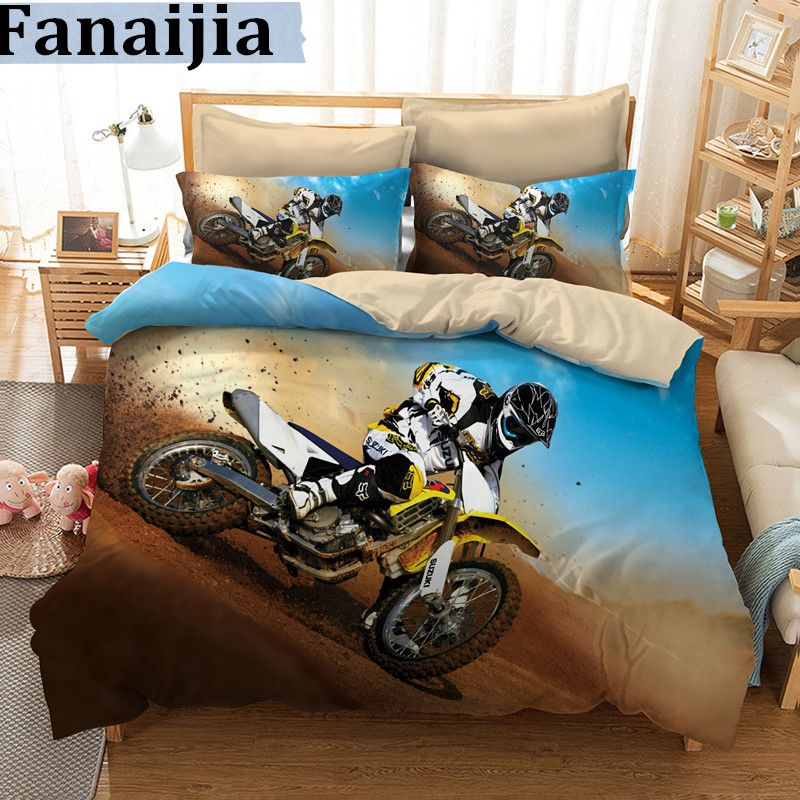 Fanaijia 3d Bedding set queen size motorcycle design Print duvet Cover set with pillowcase Quilt Cover best gift bedline AUking