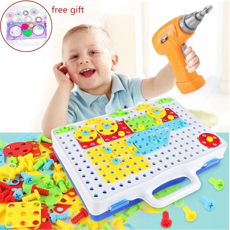 Kids Drill Toys Creative Puzzles Play Toys Set Electric Screws Nuts Tools Building 3D Puzzles Toys For Children Toys For Boys