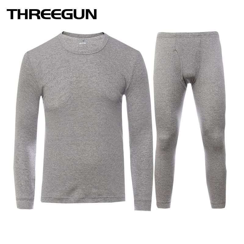 THREEGUN Long Johns Set For Men 100% Cotton Winter Round Neck Warm Ultra-Soft Solid Color Thin Thermal Underwear Men's Pajamas