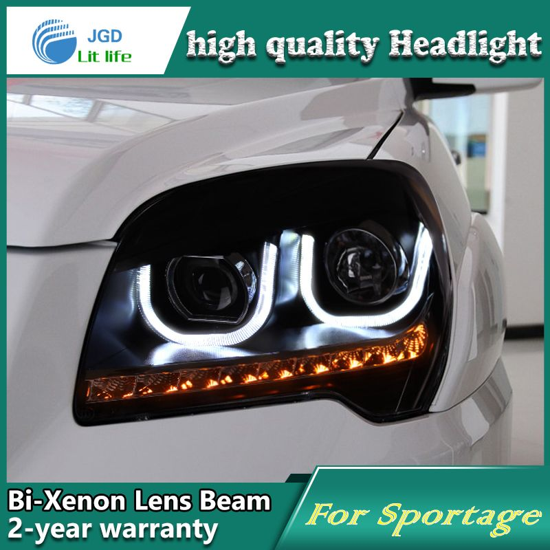 high quality Car Styling case for KIA Sportage 2009-11 Headlights  LED Headlight DRL Lens Double Beam HID Xenon Car Accessories