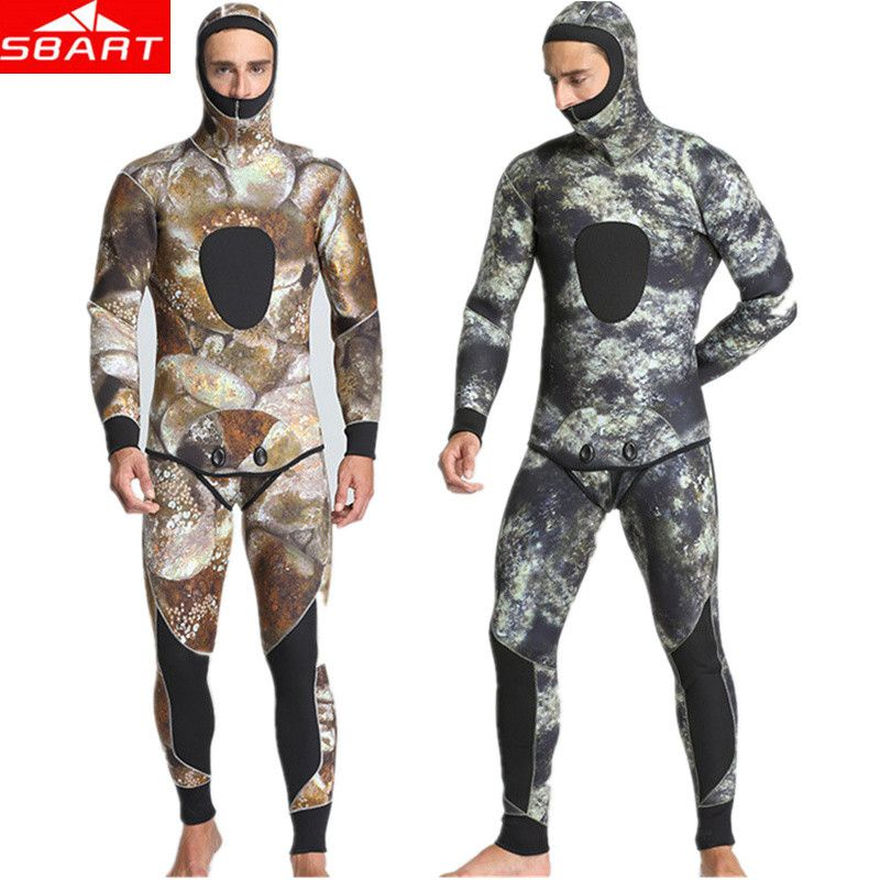 SBART 5MM Camouflage Neoprene Wetsuits Warm Keeping Two Piece Diving Spearfishing Wetsuit Mercerized SCR Neoprene Diving Wetsuit