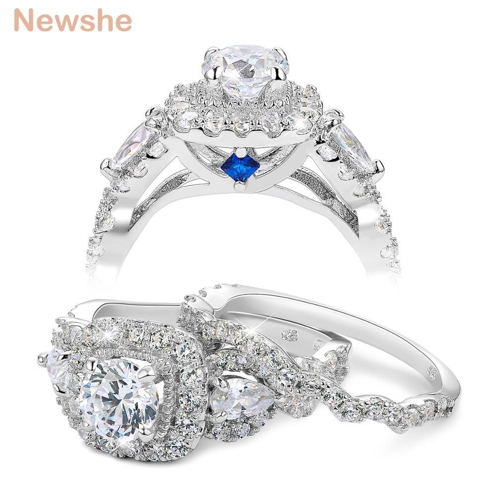 Newshe 2 pcs Ensembles Anneau De Mariage Classique Bijoux 925 Sterling Argent 1.5 Ct Blanc Bleu AAA CZ Halo Bagues de Fiançailles pour les Femmes
