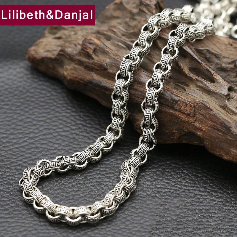2017 925 Sterling Silver Necklace Men Jewelry 8mm Wide Wrinkle bohemian Pendant Necklace Women Gift Fine Jewelry N2