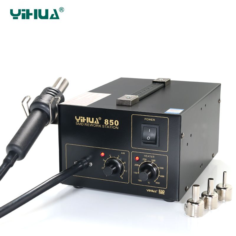 YIHUA 850 3 Nozzles Hot-Air Soldering Station , SMD Rework Station Lead Free With Heat Gun
