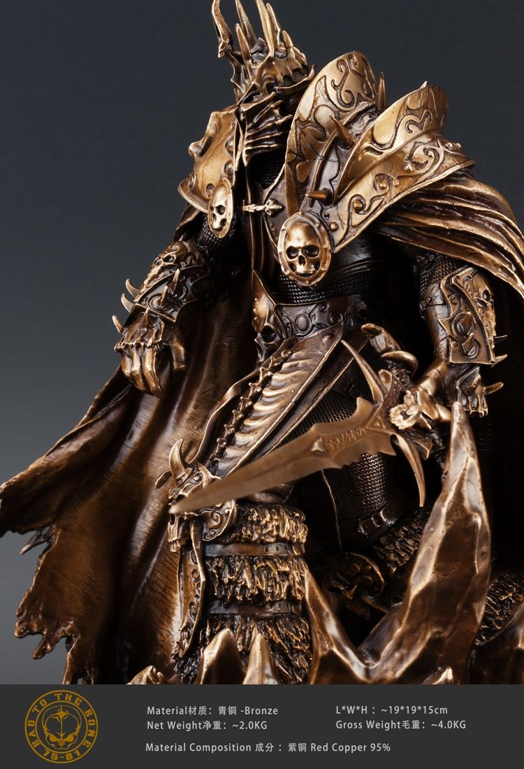 OGRM WOW World Of Warcraft Lich King Arthas Menethil Figura Estatua de Bronce Escultura Hecha A Mano Decorativos