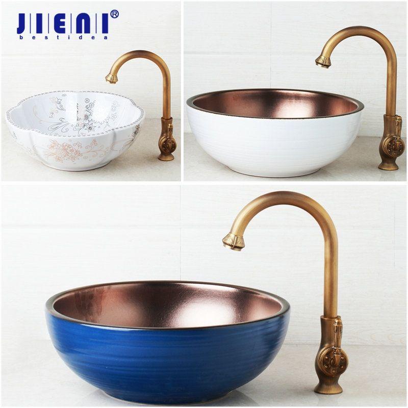 Blue Art Ceramic Vessel Bathroom Sink Set Waterfall Antique Brass Bathroom Faucet White Design Golden inside Basin Mixer Tap