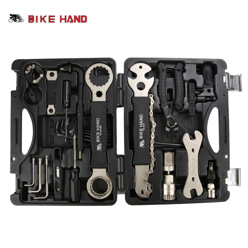 BIKE HAND 18 in 1 Bicycle Repair Tools Kit Box Set Multi MTB Tire Chain Repair Tools Spoke Wrench Kit Hex Screwdriver Bike Tools