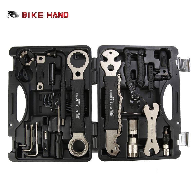 BIKE HAND 18 in 1 Schraubendreher-satz-reparatur-werkzeug-fahrrad-reparatur-tools Kit Box Set Multi MTB Reifen Kette Reparatur Werkzeuge Speichenschlüssel Kit Hex Schraubendreher Bike Werkzeuge