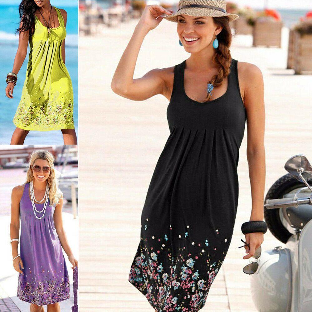 Womens Floral Sundress Knee Length Summer Loose Sleeveless Dresses Floral Print Fashion Beach Dress Summer Womens New PLUS SIZE