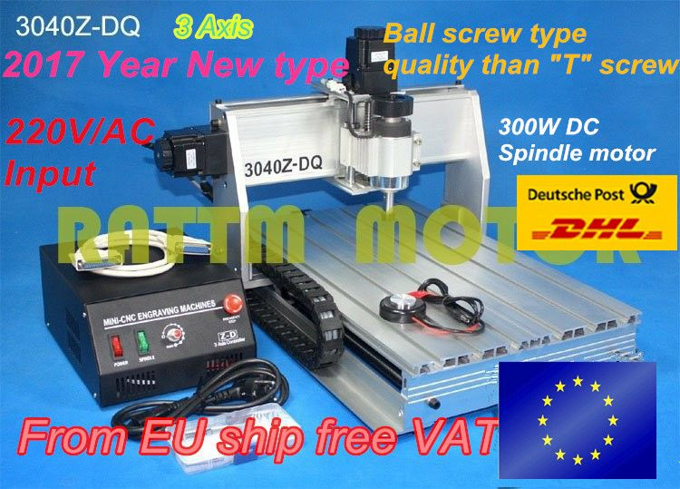 EU ship free VAT Ball screw 300W spindle motor 3040Z-DQ CNC ROUTER ENGRAVER/ENGRAVING DRILLING Milling Machine 220V/110V