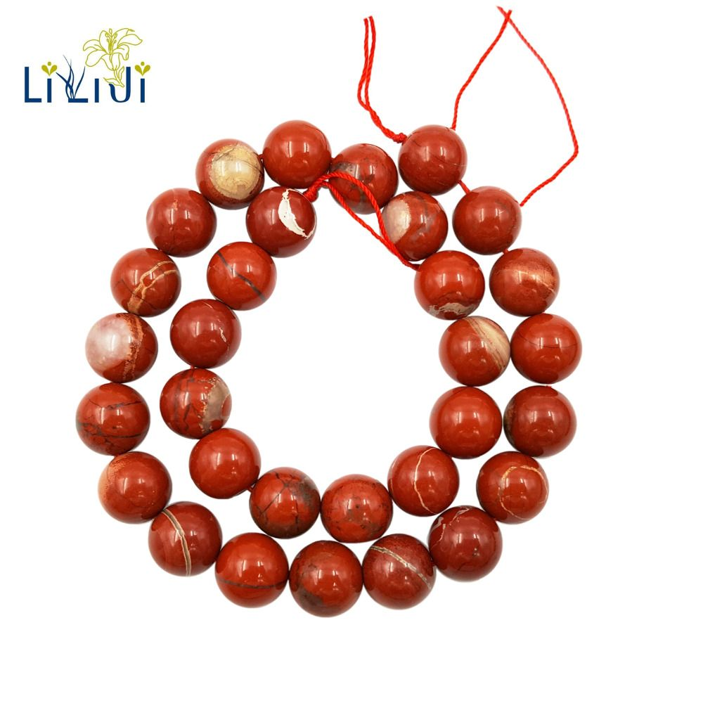 Lii Ji Natural Red Jasper 6-14mm Round beads DIY Jewelry Making Necklace Bracelet Approx 39cm