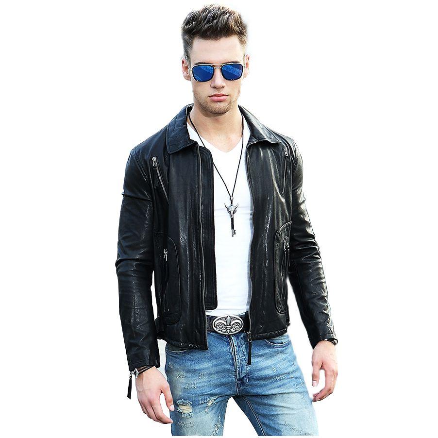 MEETBUD 2017 new casual men genuine leather jacket spring autumn men sheepskin motorcycle coats slim fit fashion jacket