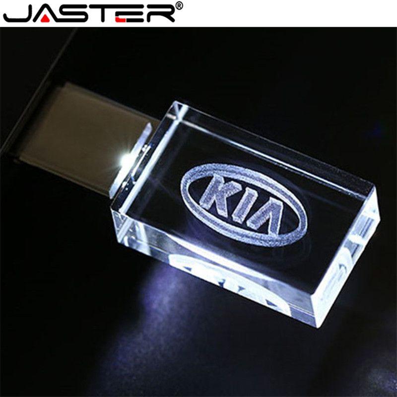 JASTER HOT Car Sign Logos crystal + metal USB flash drive pendrive 4GB 8GB 16GB 32GB 64GB 128GB External Storage memory stick