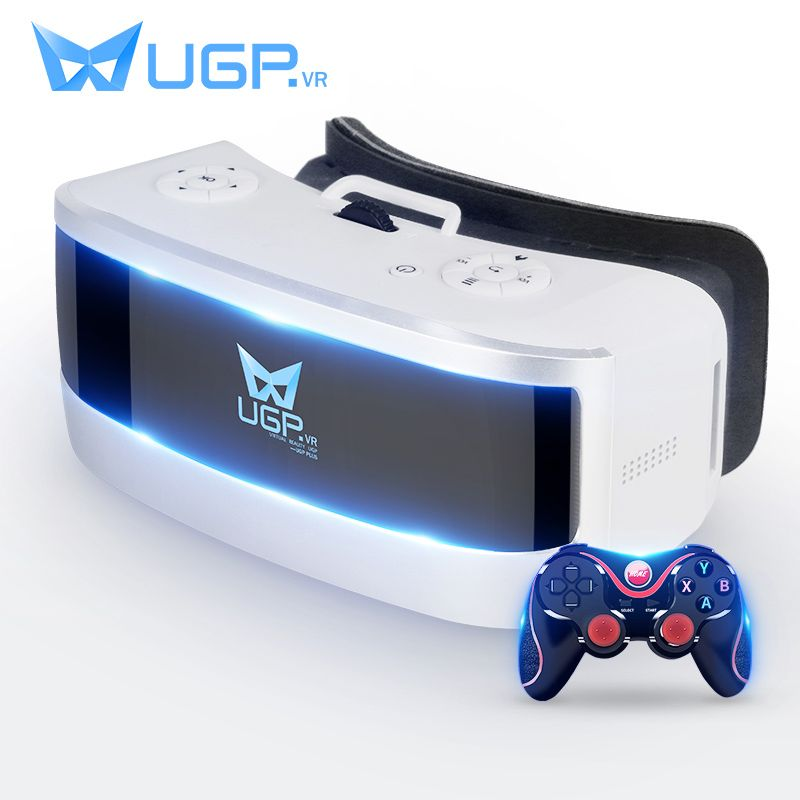 UGP VR Glasses All In One 5.5 Inch 3D Virtual Reality Glasses With Bluetooth Remote Control Gamepad For Movie Cinema ALL VR Game