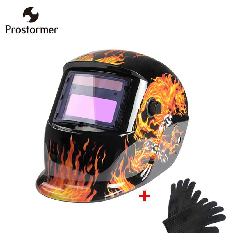 Prostormer 6 Colors Solar Auto Darkening Welding helmet Welding helmet MIG MMA Electric Welding Mask Welder Cap with gloves kit