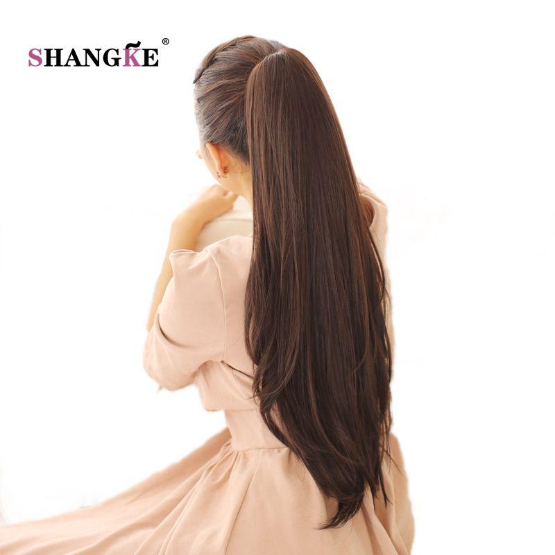 SHANGKE 24 ''longue queue de cheval droite griffe cordon queue de cheval synthétique résistant à la chaleur Clip dans les Extensions de cheveux