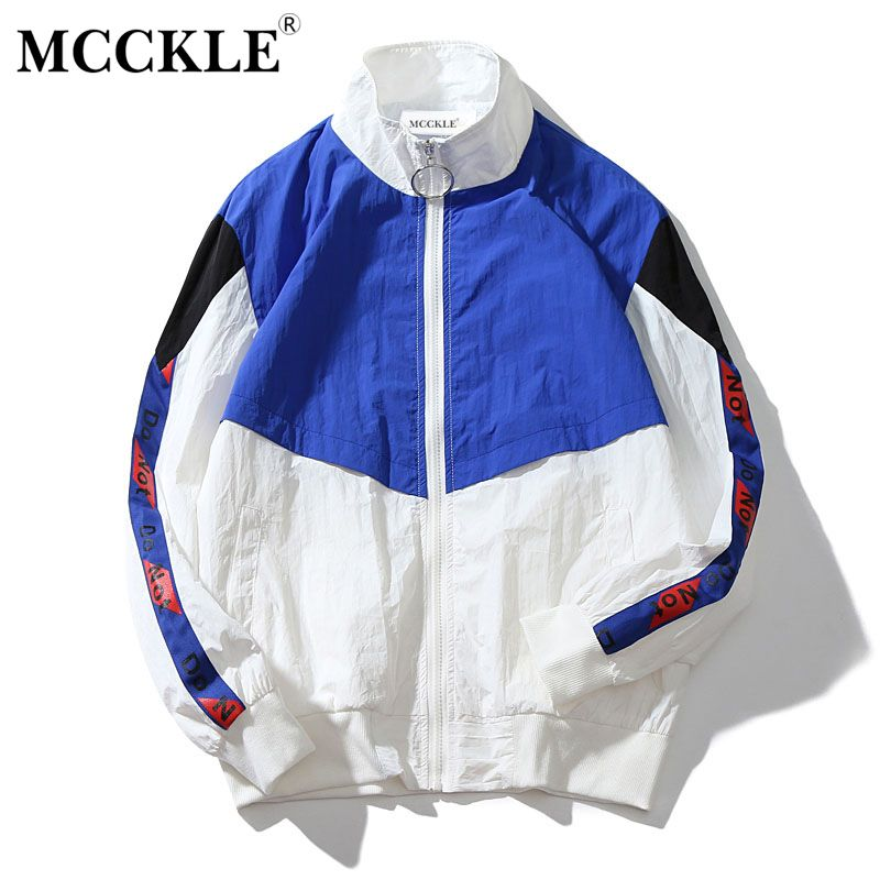 MCCKLE 2018 Spring Men's Jacket Stand Collar Hip Hop Outwear Bomber Jacket Patchwork Casual Men Coat Bomb Baseball Jackets