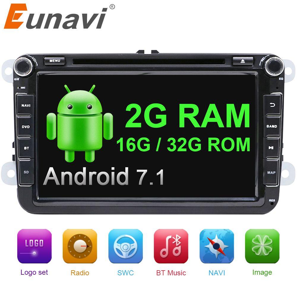 Eunavi 8'' 2 Din Android 7.1 vw car dvd for Polo Jetta Tiguan VW passat b6 cc fabia radio gps mirror link bluetooth wifi in dash