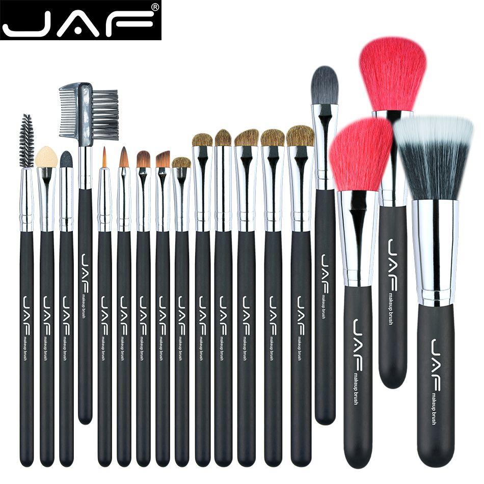 Jaf 18 unids componen sistema de cepillo natural super suave rojo Pelo de cabra y Pony Horse Hair Studio Beauty Makeup Artist Brushes J1813AY-B