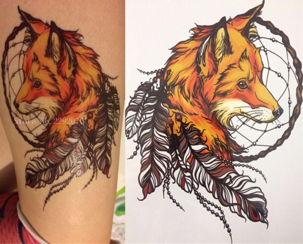 2016 21x15 см желтый лисы и Перо Прохладный Красота татуировки Водонепроницаемый Горячие Временные татуировки Наклейки